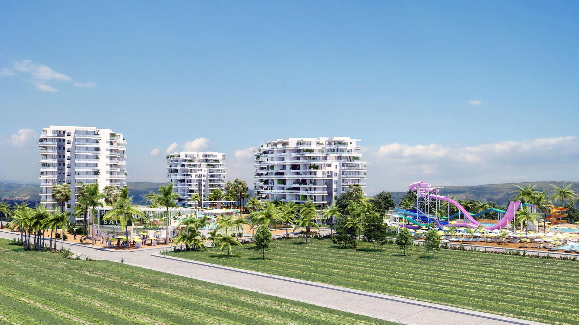 הדמיה אדריכלית של מתחם נופש בקפריסין