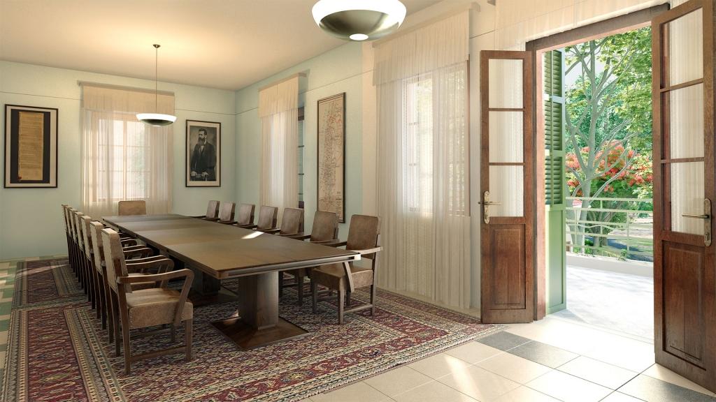 הדמית חדר הישיבות במעון ראש הממשלה בקריה