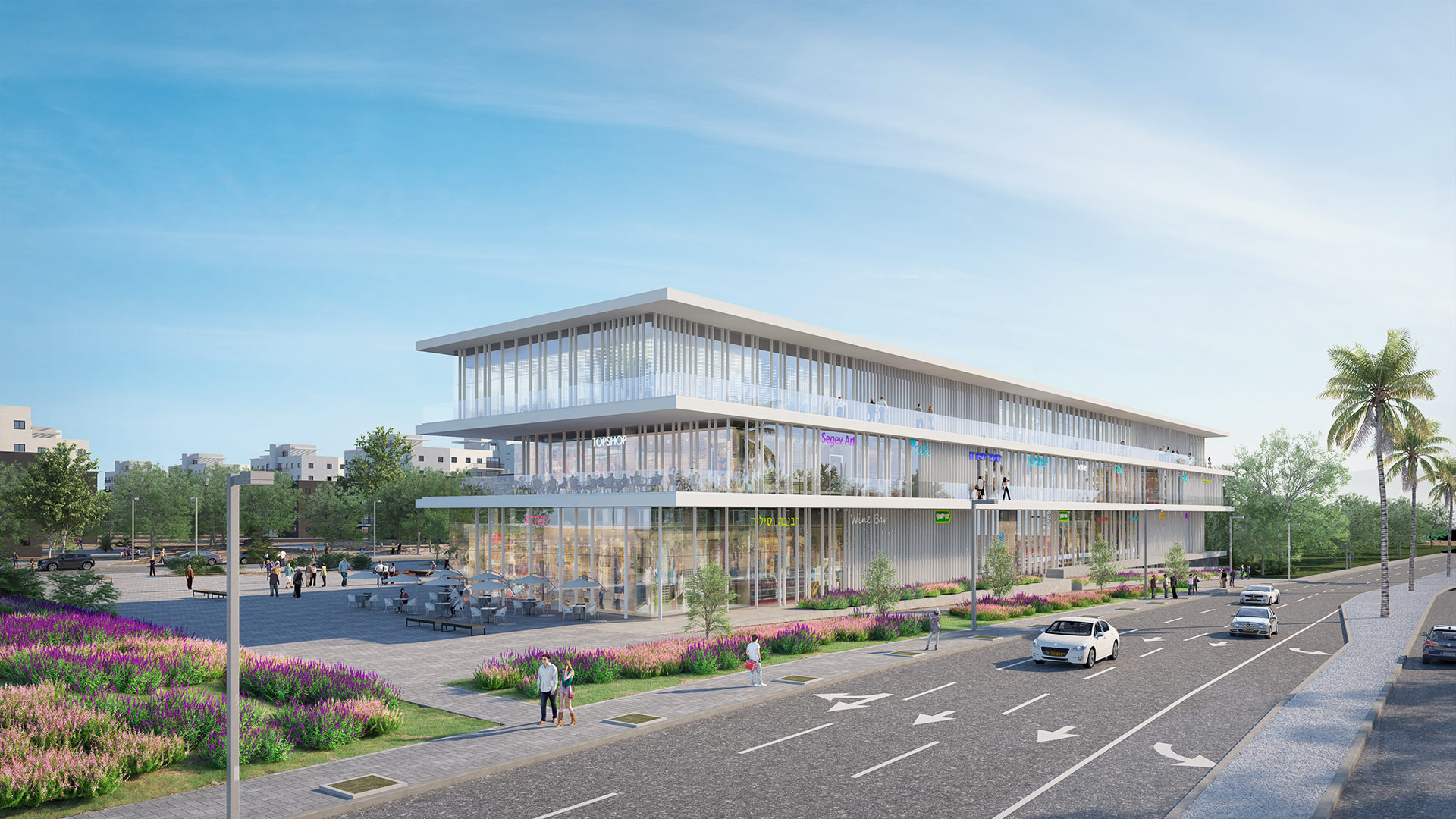 הדמיה אדריכלית של מרכז מסחרי